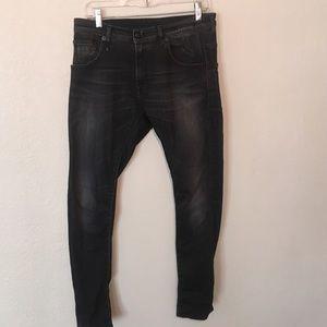 R13 Dirty Black Skate Jeans